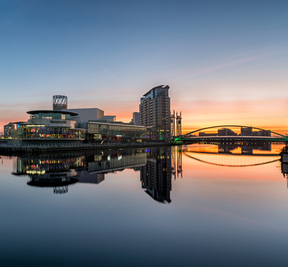 Orange Sunrise At Salford Quays With Reflections