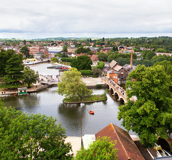 View from above of Stratford-Upon-Avon